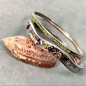 ⭐️2 for $10 Rhinestone Silver Tone Cuff Bracelets